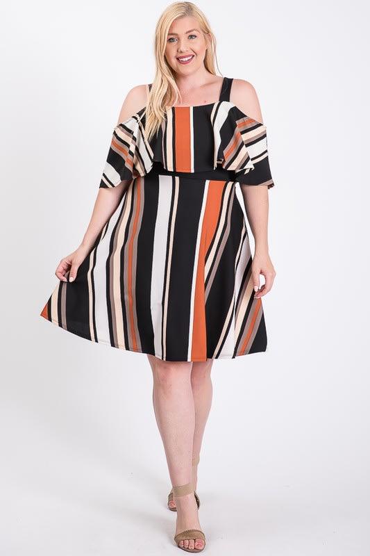 Sassy Multi-colored Off-Shoulder Dress -  - Front