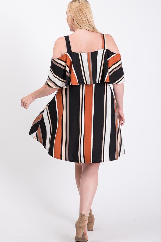 Sassy Multi-colored Off-Shoulder Dress -  - Back