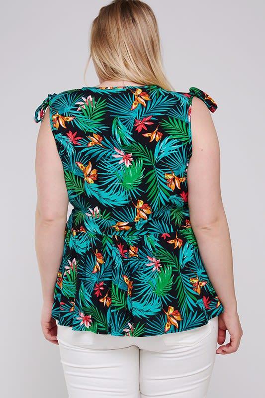 Tropical Open Top W/Shoulder Tie - Black - Back