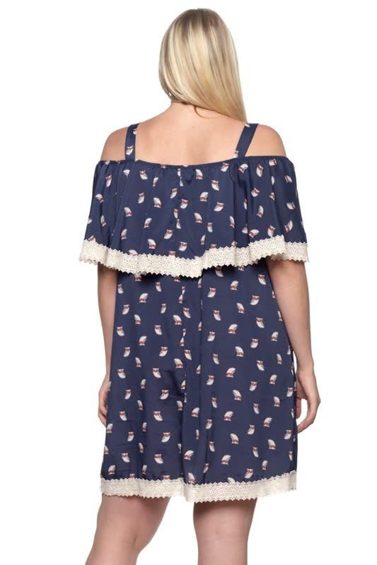 Owl Print Ruffle Dress - Navy - Back