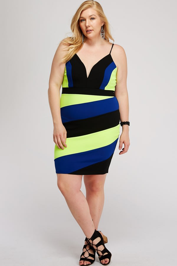 Colorful Cocktail Dress - Multi - Front