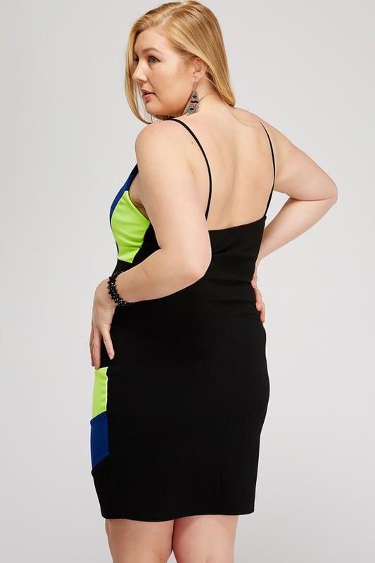 Colorful Cocktail Dress - Multi - Back