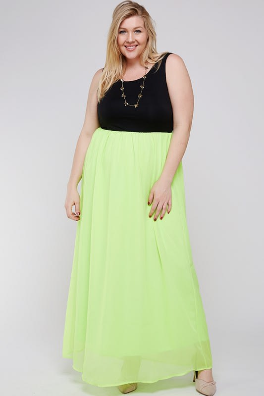 Casual Chic Dress - Black / Lime Green - Front