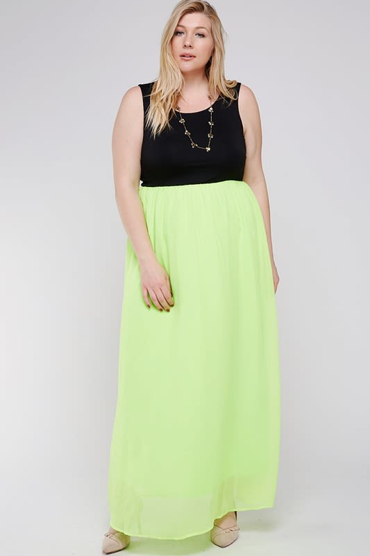 Casual Chic Dress - Black / Lime Green - Back