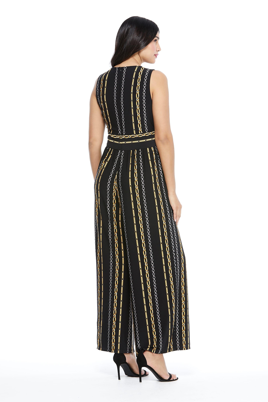Whitney Chain Stripe Jumpsuit - Black/Gold - Back