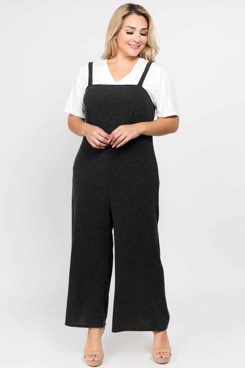 Casual Overall/ Jumpsuit - Dark Grey - Front
