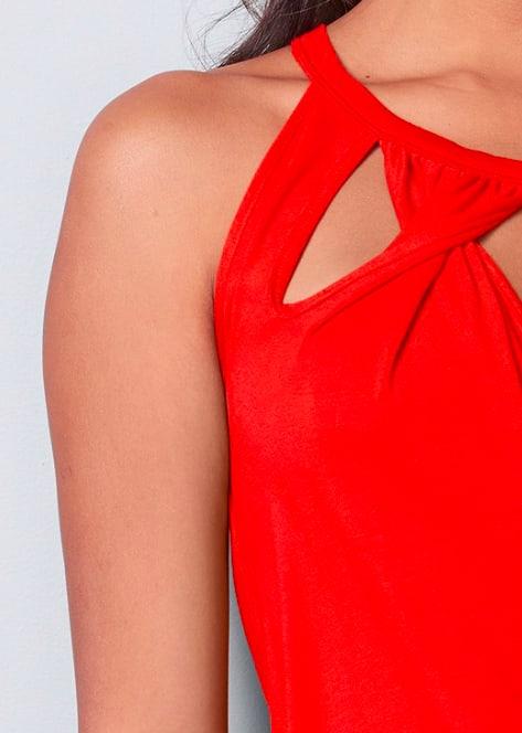 Twist Detail Cut Out Tank Top - Burnt Orange - Detail