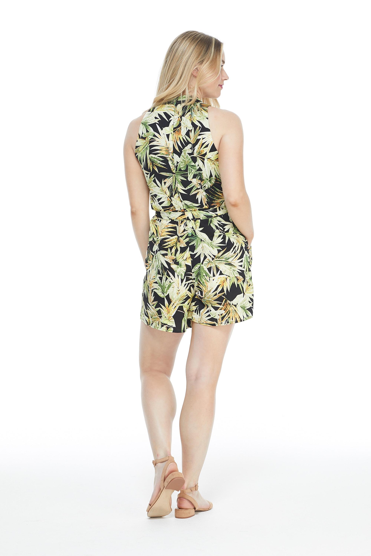 Catalina Short Jumpsuit - Black/Green - Back