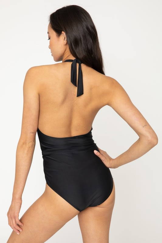 Low V Twisted Front Swimsuit - Black - Back