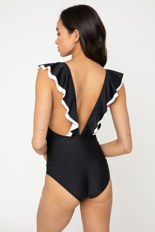 V Neck Double Ruffle Trim Swimsuit - Black - Back