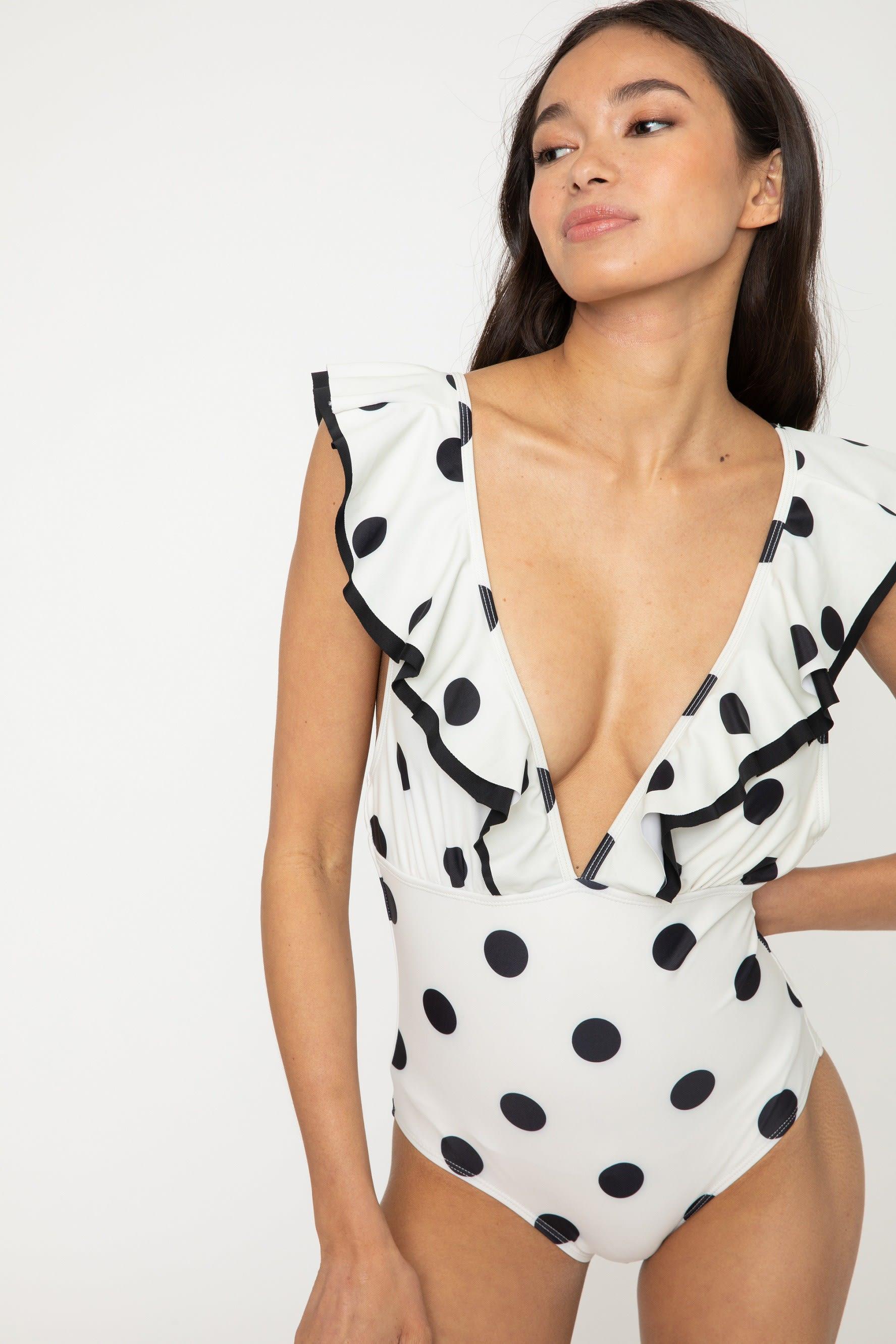 V Neck Double Ruffle Trim Swimsuit - White/ Black - Front