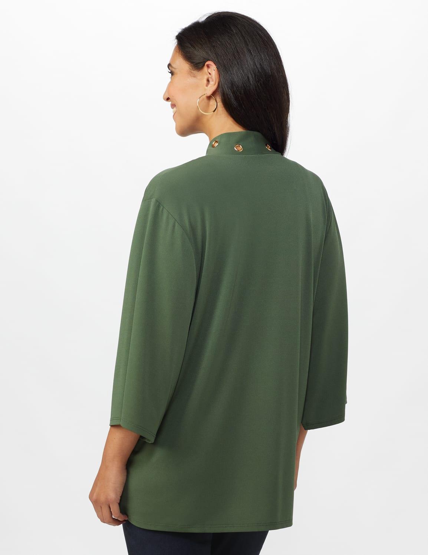 Roz & Ali Novelty Sleeve Grommet Cardigan - Olive - Back