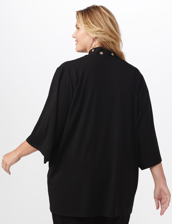 Roz & Ali Novelty Sleeve Grommet Cardigan - Black - Back