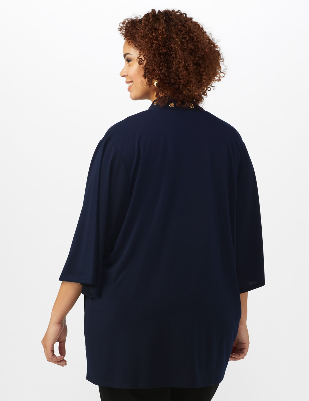 Roz & Ali Novelty Sleeve Grommet Cardigan - Navy - Back