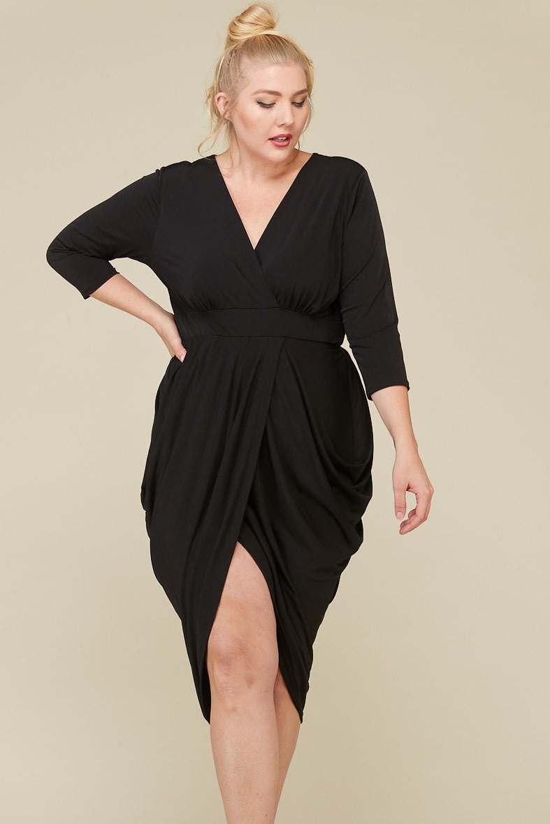 Blow Them Away Wrap-Style Dress - Black - Front