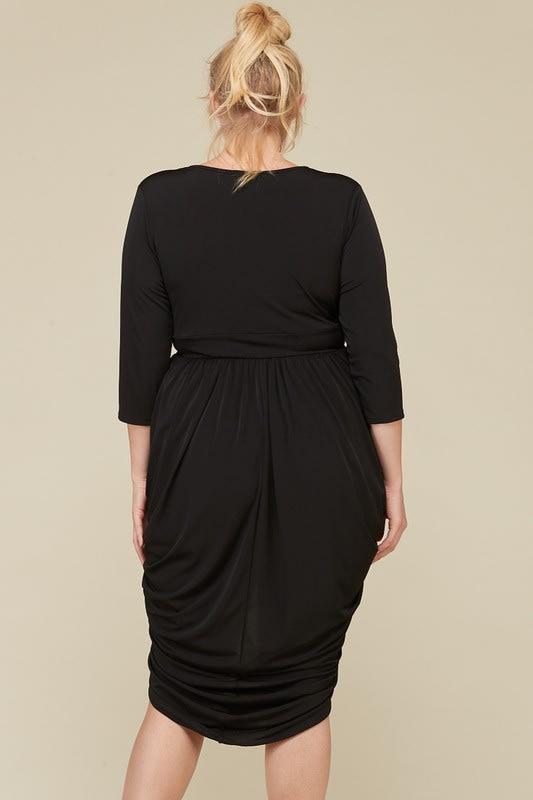 Blow Them Away Wrap-Style Dress - Black - Back