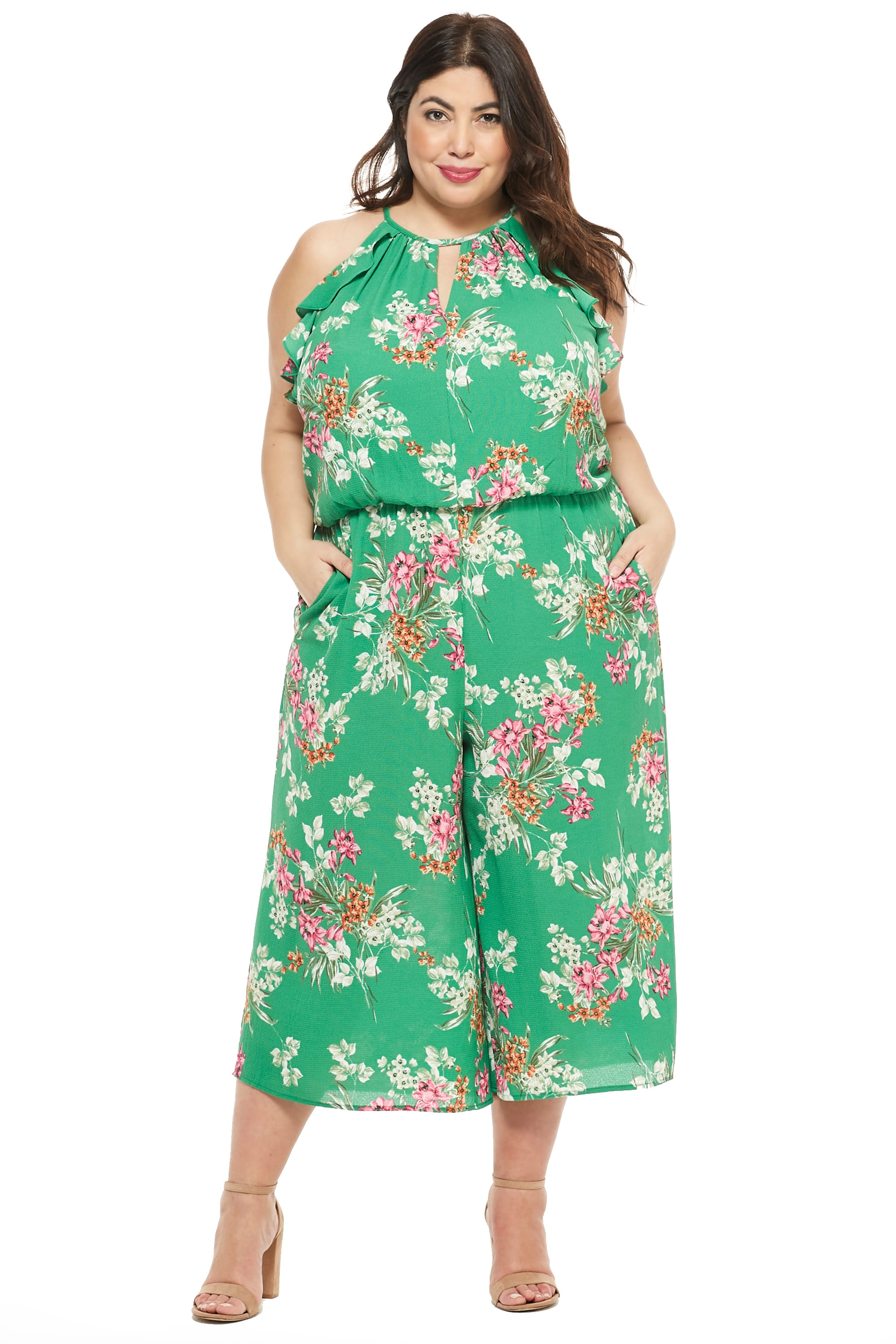 Meadow Halter Ruffle Sleeve Jumpsuit - Plus - Green/Multi - Front