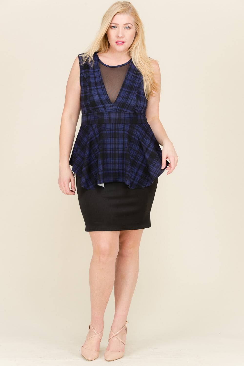 At The Office Dress - Black / Navy - Front