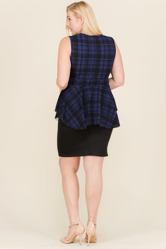 At The Office Dress - Black / Navy - Back