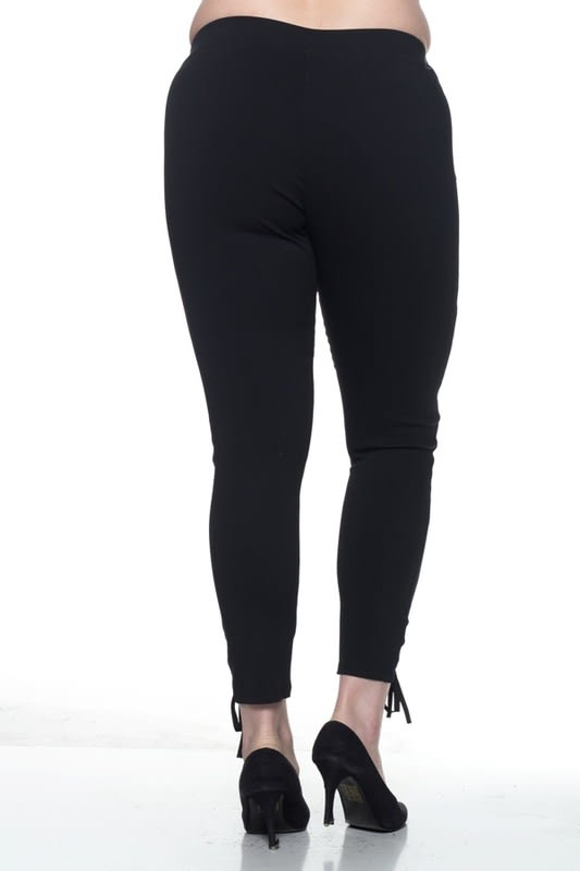 Bold Lace-up Leggings - Black - Back