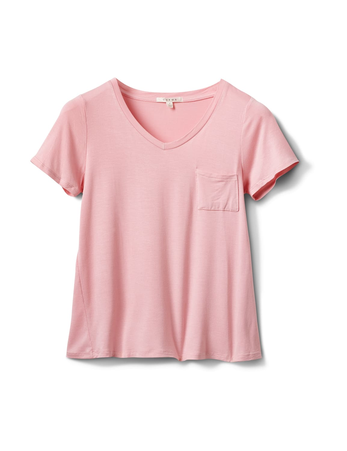 Rayon Span V-Neck Tee - Blush - Front