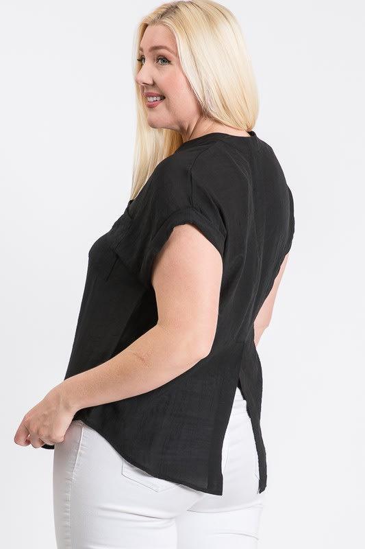 Breezy V-Neck Top - Black - Back