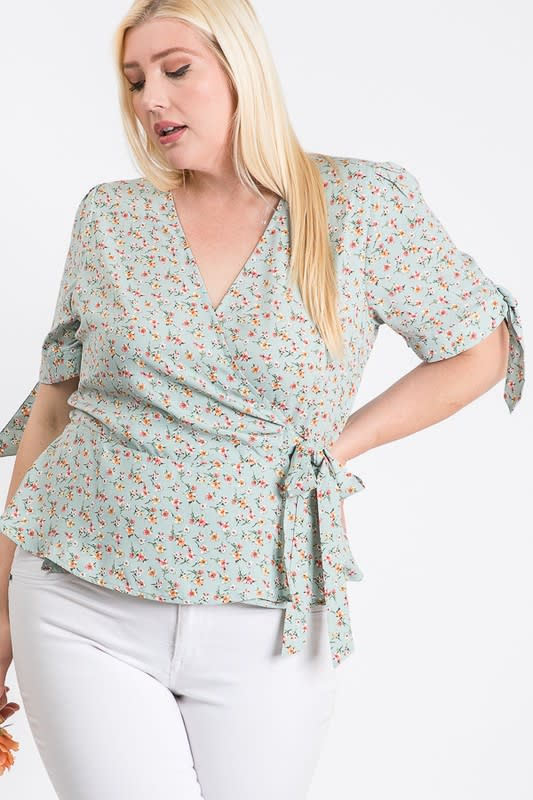 Wrapped by Floral Top - Sage - Front