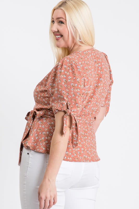 Wrapped by Floral Top - Mauve - Back