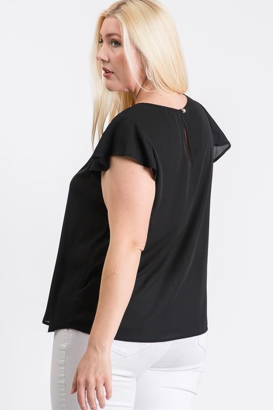 Everyday Look Short Sleeve Top - Black - Back
