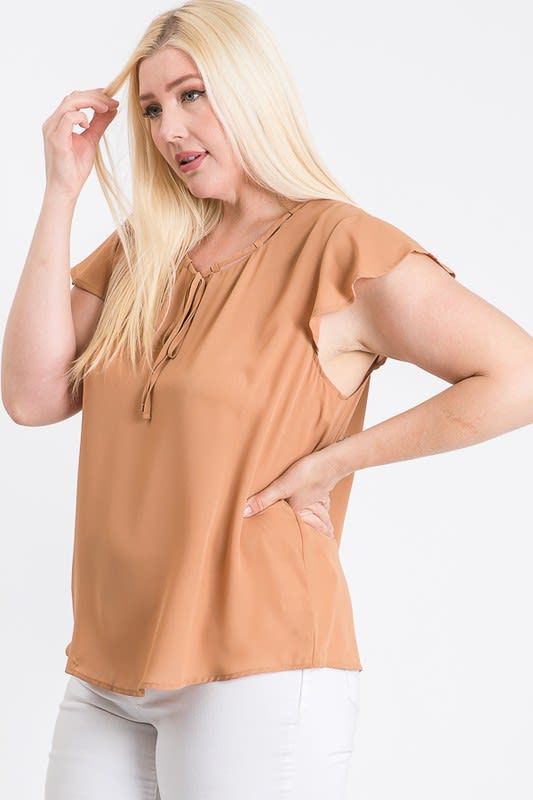 Everyday Look Short Sleeve Top - Taupe - Back