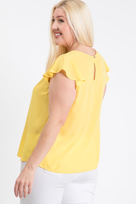 Everyday Look Short Sleeve Top - Yellow - Back