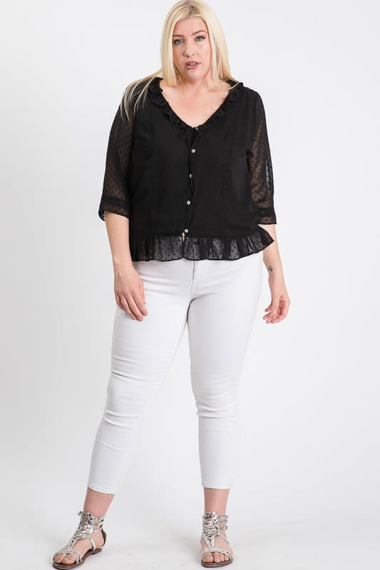 Dotted Chiffon Blouse - Black - Front