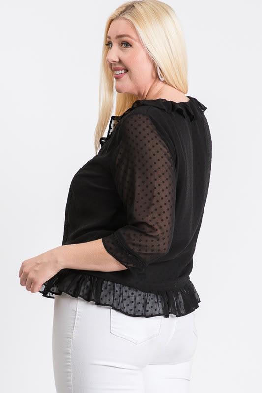 Dotted Chiffon Blouse - Black - Back