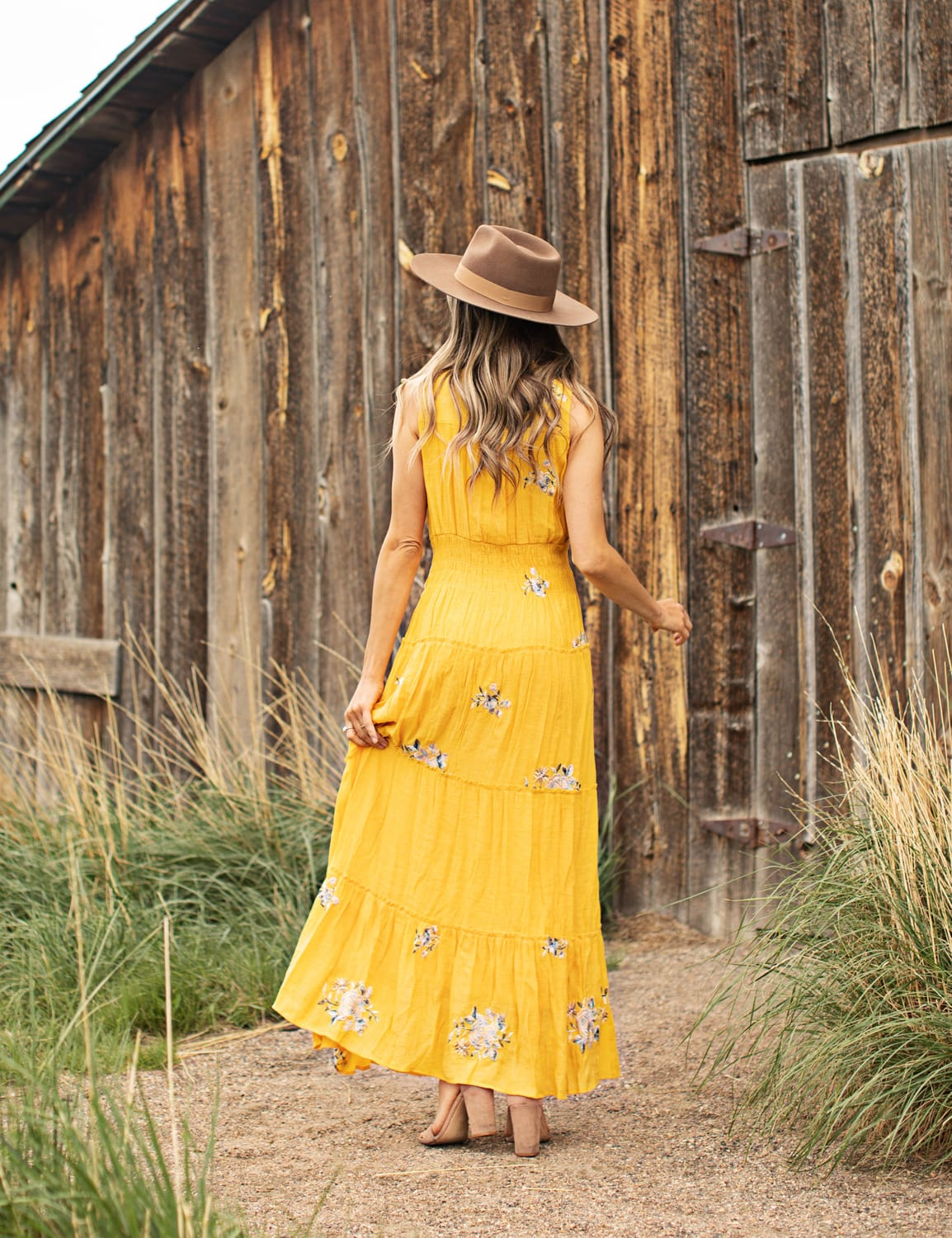 Embroidered Tiered Maxi Dress - Yellow - Back