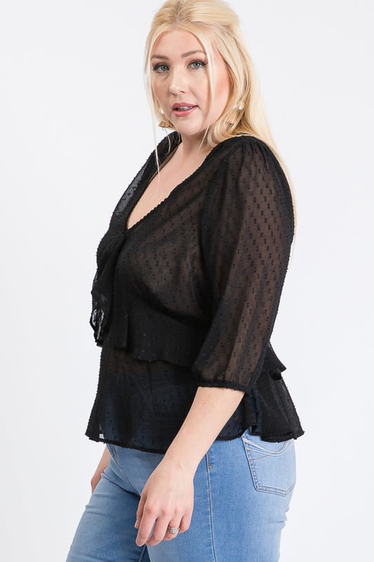Show Off Dotted Blouse - Black - Detail