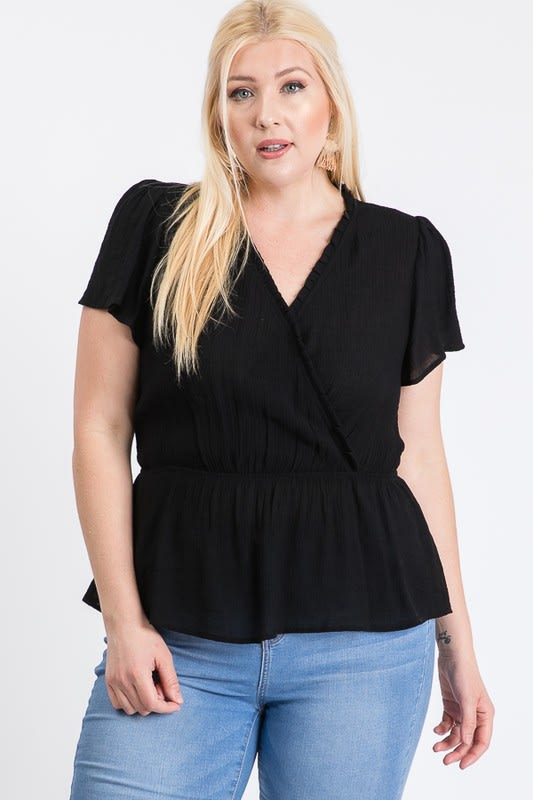 Stylish Over-Wrap Top - Black - Front