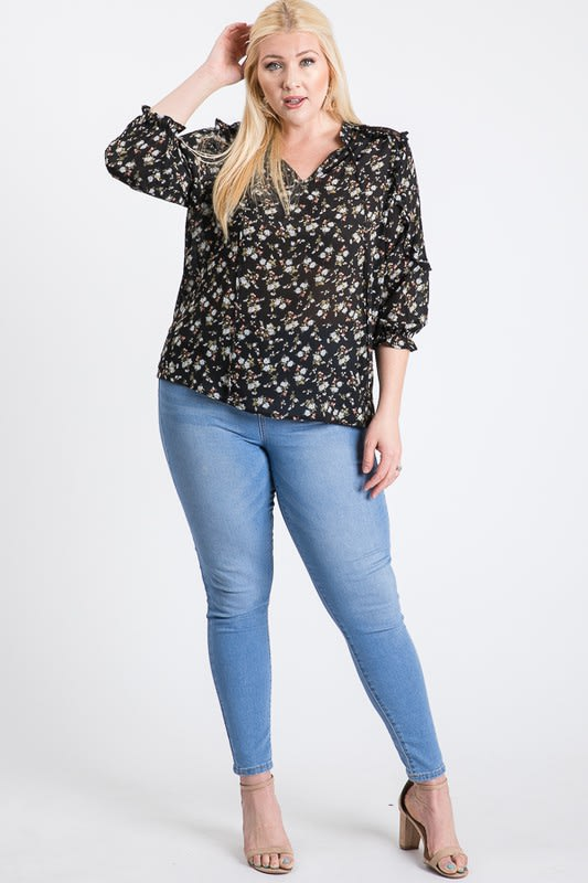 Ready To Go Lace Top - Black - Front