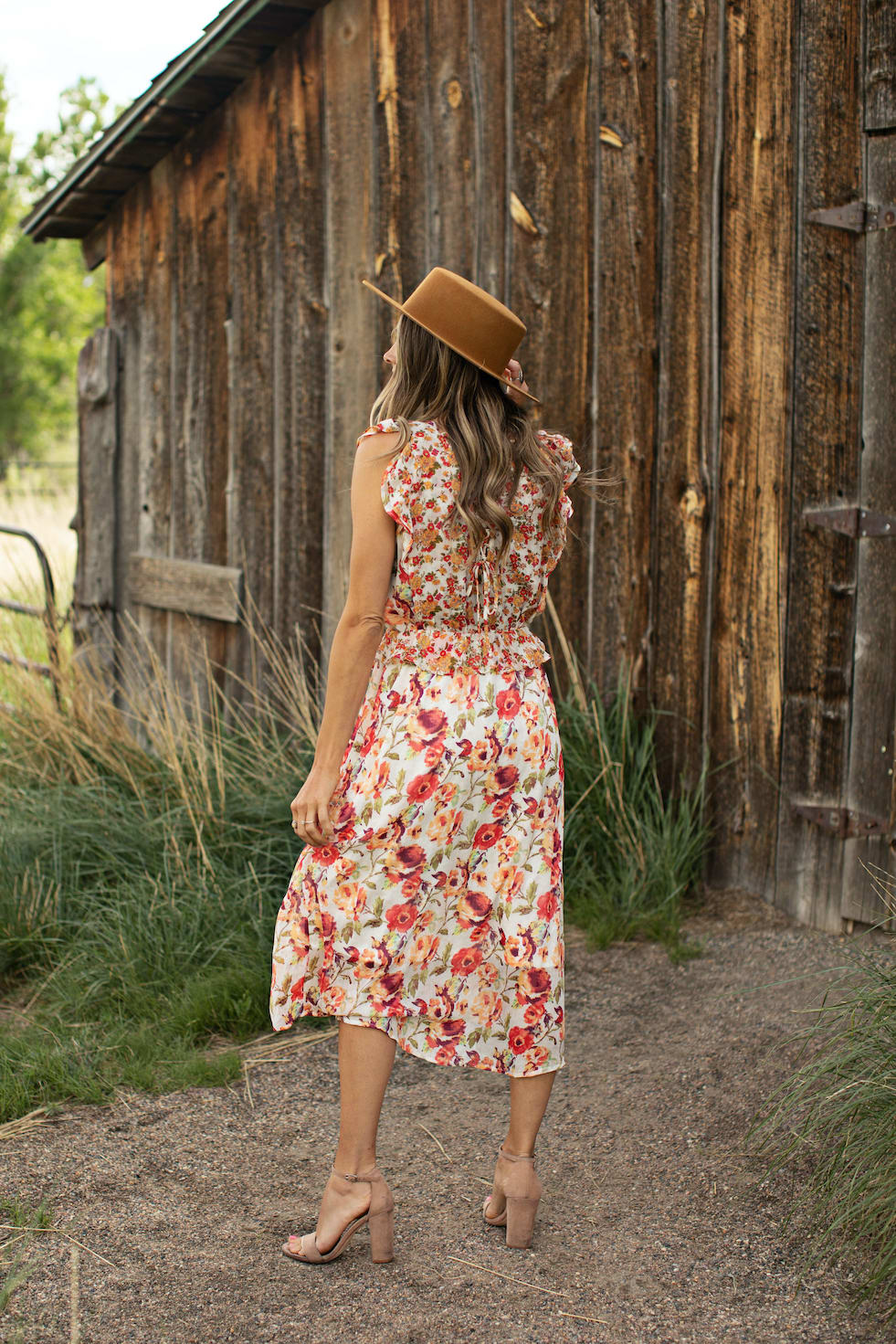 Mixed Floral With Crisscross Back - Ivory/Orange - Back