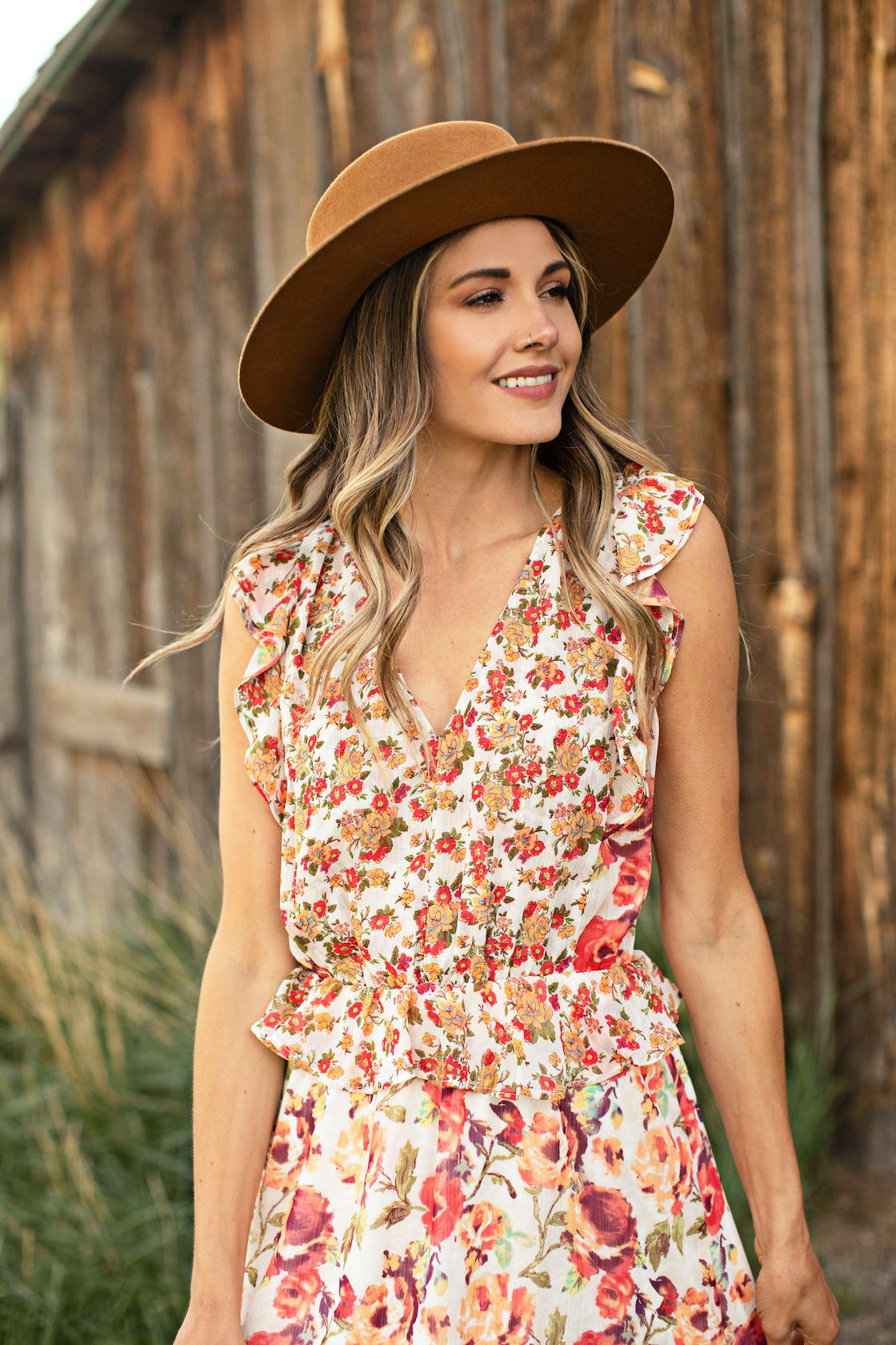 Mixed Floral With Crisscross Back - Ivory/Orange - Detail