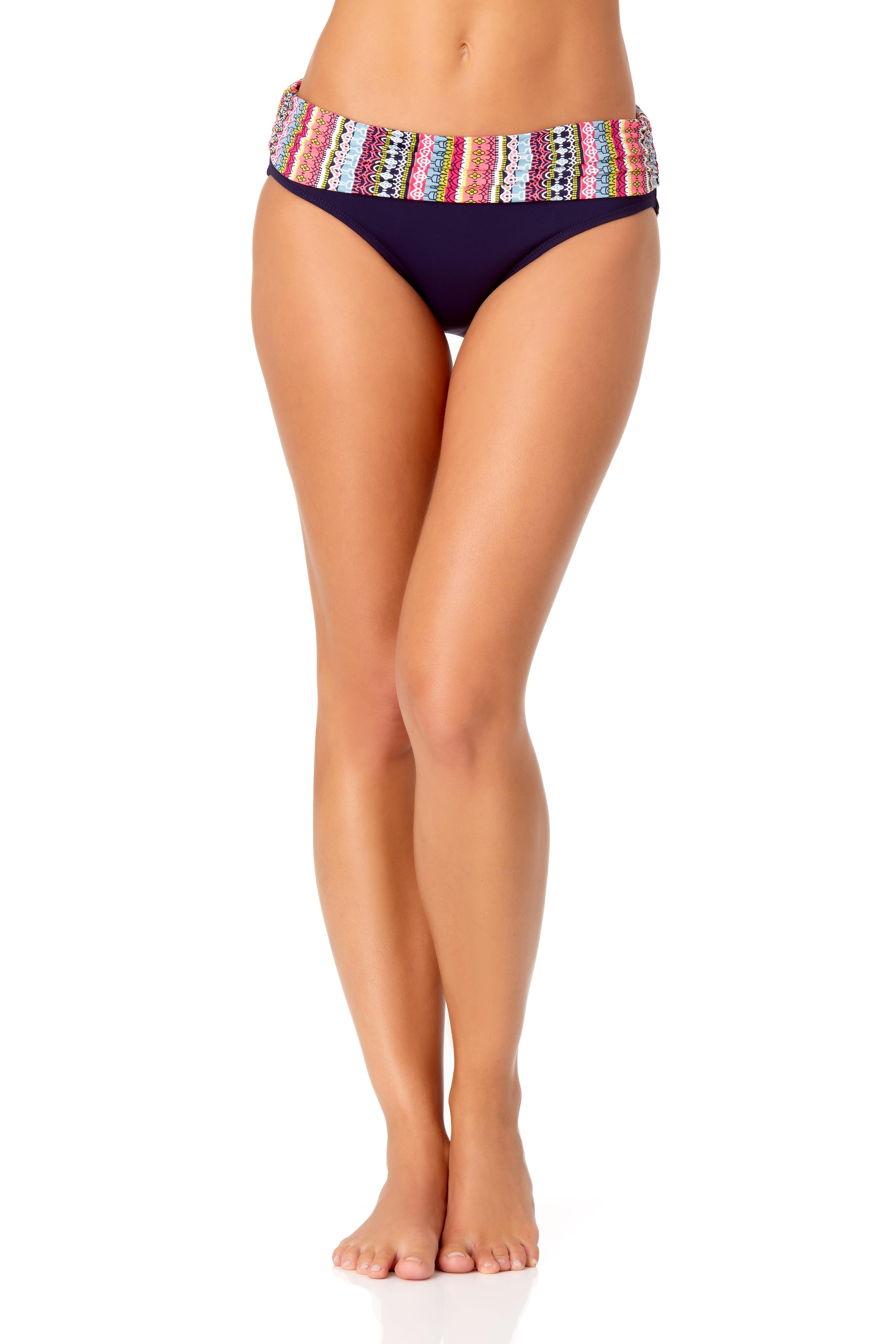 Anne Cole® Jet Set Stripe Foldover Bikini Swimsuit Bottom - Multi - Front