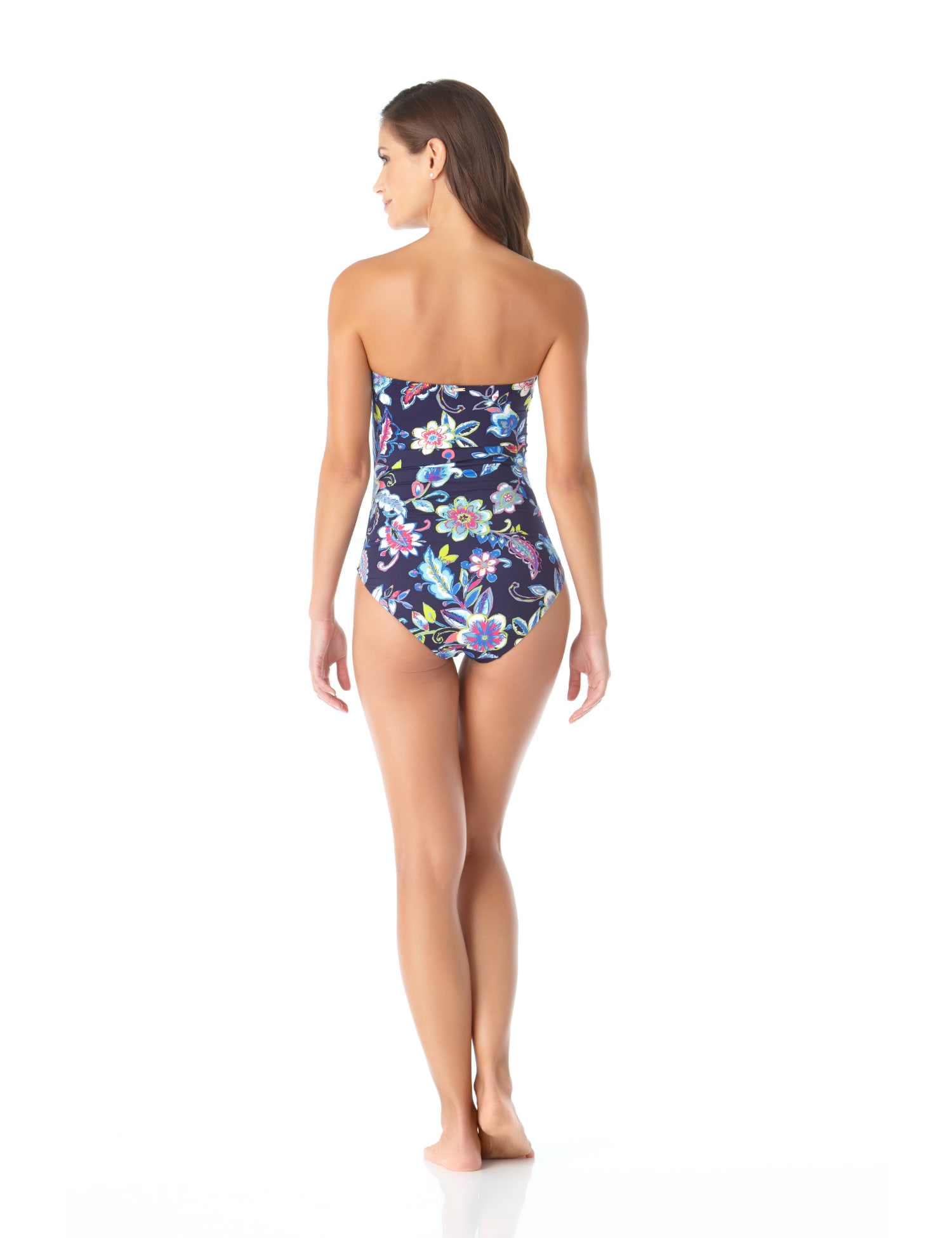 Anne Cole® Holiday Paisley Twist Front One Piece Swimsuit - Misses - Multi - Back