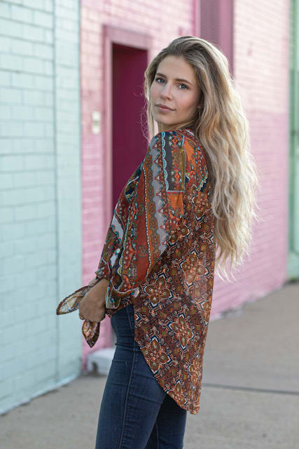 Foil Mix print Tie Front Shirt - Copper - Back