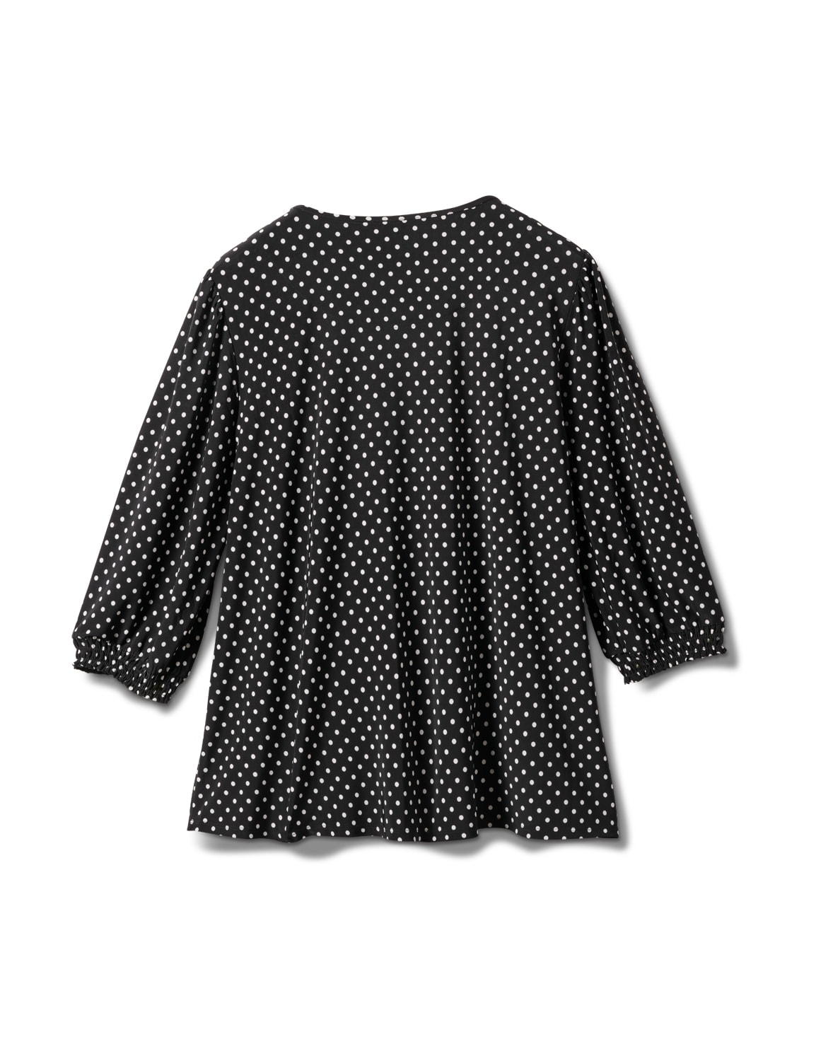 3/4 Sleeve Dot Smocked Knit Top - Plus - Black/White - Back
