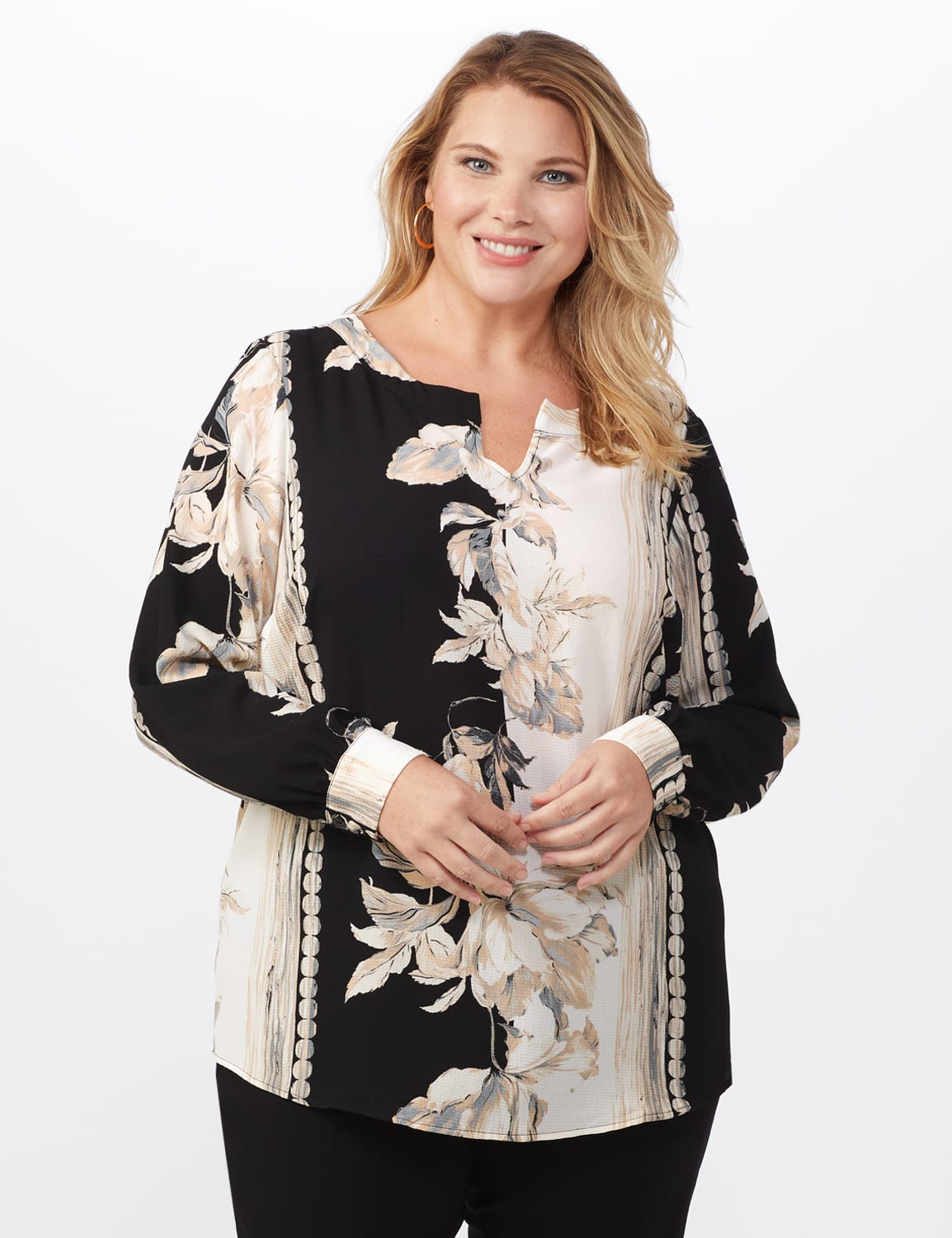 Long Sleeve Placed Floral Blouse - Black/Natural - Front