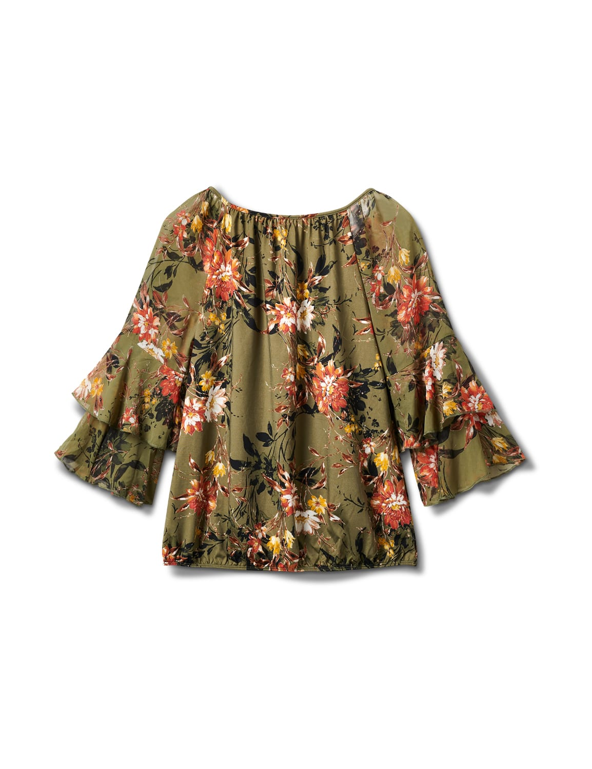 Novelty Sleeve Floral Print Knit Top - Olive/Burnt Orange/Gold - Back