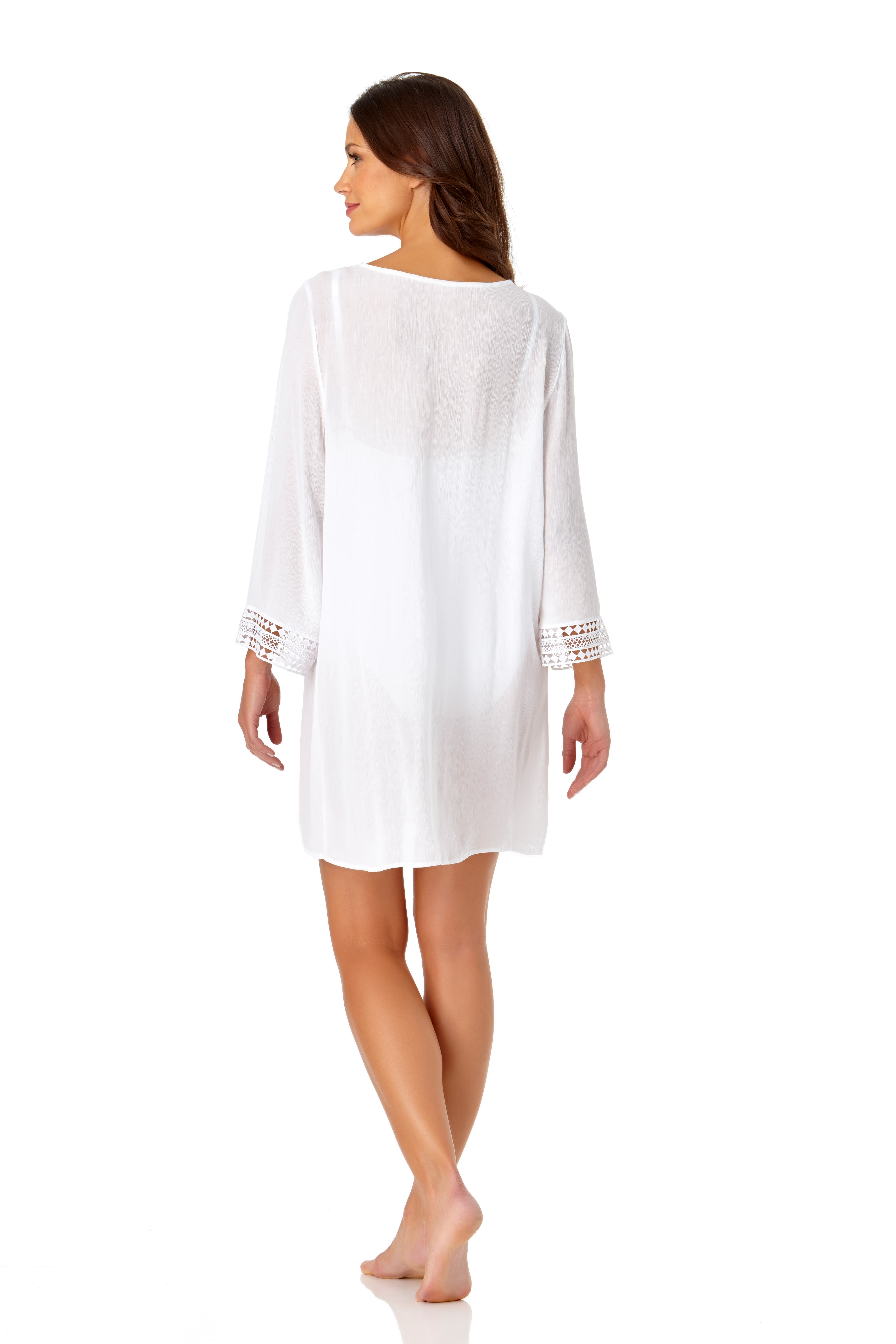 Anne Cole® Crochet Mixer Swimsuit Cover-Up - White - Back