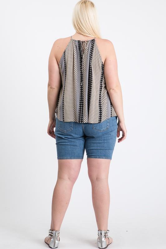 Summer-Loving Sleeveless Top - Black Multi - Back