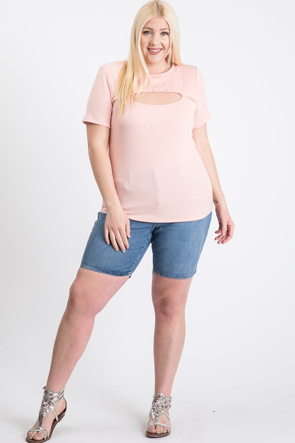 Casual Top With A Twist - Pink - Front