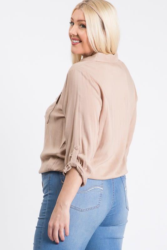 The Practical Pocket Shirt - Khaki - Back