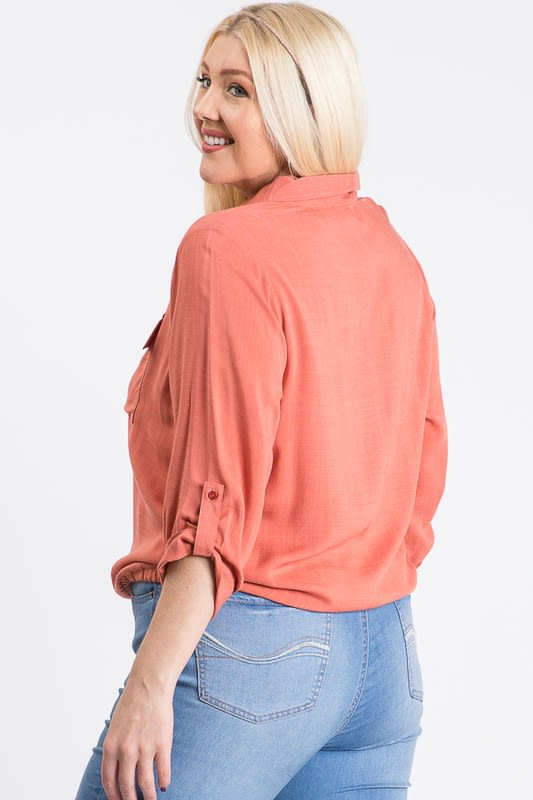 The Practical Pocket Shirt - Terracotta - Front
